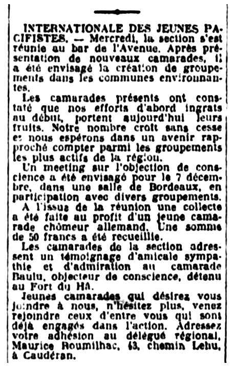 """Notícia sobre Maurice Roumilhac apareguda en el diari de Bordeus """"La France de Bordeaux et du Sud-Ouest"""" del 19 de novembre de 1932"""