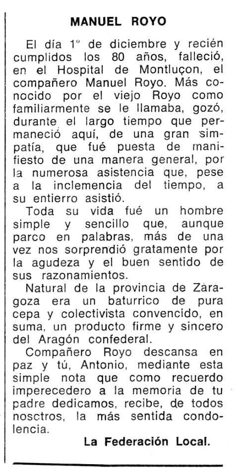 """Necrològica de Manuel Royo publicada en el periòdic tolosà """"Espoir"""" del 3 de febrer de 1974"""