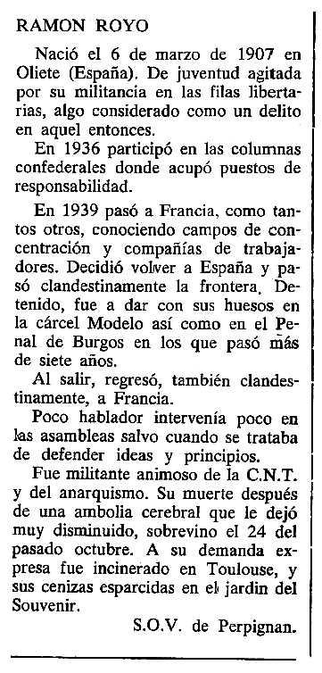 """Necrològica de Ramón Royo Alfonso apareguda en el periòdic tolosà """"Cenit"""" del 21 de gener de 1986"""