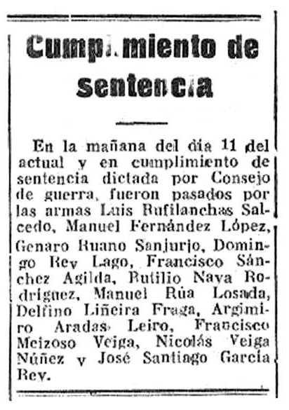 """Notícia de l'execució de Manuel Rúa Losada apareguda en el periòdic corunyès """"Hoja Oficial del Lunes"""" del 12 de juliol de 1937"""