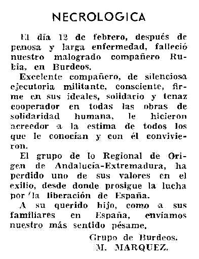 """Necrològica de Manuel Rubia Ortiz apareguda en el periòdic tolosà """"El Rebelde"""" d'abril de 1962"""