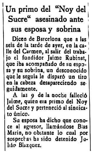 """Notícia de l'assassinat de Jaume Rubinat Grau publicada en el periòdic de Santa Cruz de Tenerife """"El Progreso"""" del 19 d'octubre de 1922"""