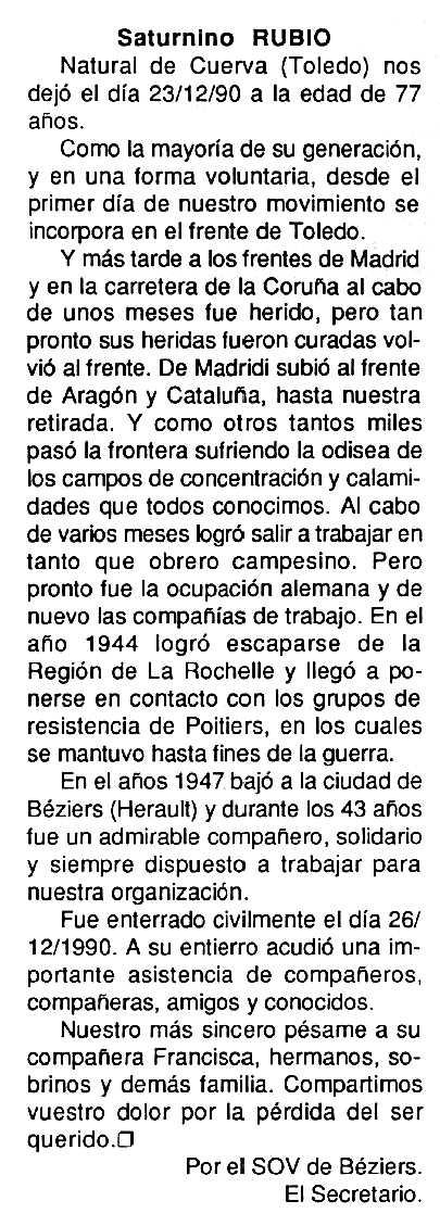 """Necrològica de Saturnino Rubio Fernández apareguda en el periòdic tolosà """"Cenit"""" del 29 de gener de 1991"""