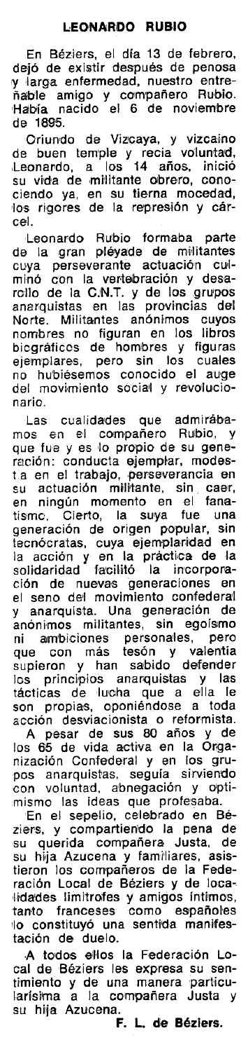 """Necrològica de Leonardo Rubio García apareguda en el periòdic tolosà """"Espoir"""" del 16 de maig de 1976"""