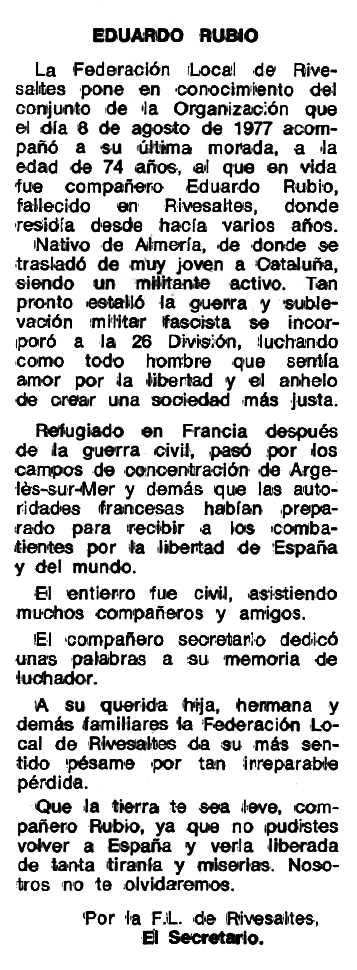 """Necrològica d'Eduardo Rubio Martínez apareguda en el periòdic tolosà """"Espoir"""" del 16 d'octubre de 1977"""