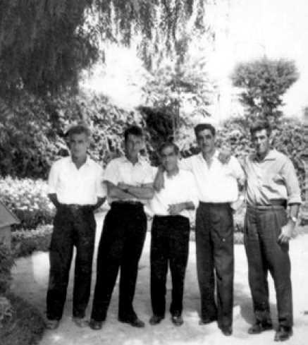 José Rueda Duarte, Antonio Machuca Ortiz y Antonio Toro Aguilar amb altres dos companys en l'exili
