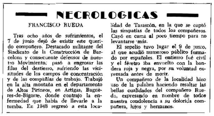 "Necrològica de Francisco Rueda apareguda en el periòdic tolosà ""CNT"" del 19 d'agost de 1956"