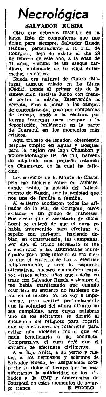 """Necrològica de Salvador Rueda Guillén apareguda en el periòdic parisenc """"Le Combat Syndicaliste"""" del 29 de març de 1962"""