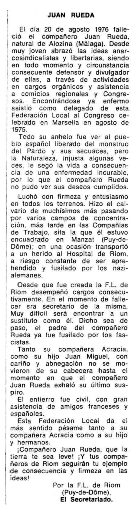 "Necrològica de Juan Rueda Ona apareguda en el periòdic tolosà ""Espoir"" del 26 de desembre de 1976"