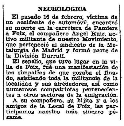 """Necrològica d'Ángel Ruiz García apareguda en el periòdic parisenc """"Solidaridad Obrera"""" del 8 de març de 1947"""