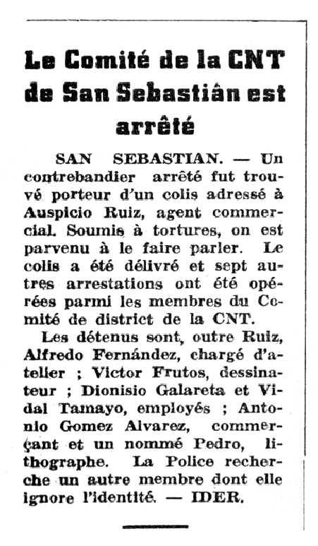 """Notícia de la detenció d'Auspicio Ruiz López apareguda en el periòdic parisenc """"Le Nouvelle Espagne"""" del 22 de febrer de 1947"""