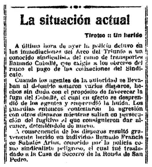 """La notícia de l'incident segons el diari barcelonès """"La Vanguardia"""" del 16 de gener de 1921"""