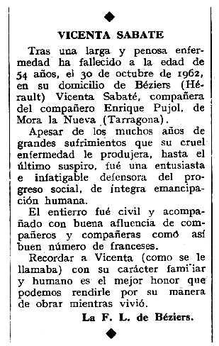 """Necrològica de Vicenta Sabaté apareguda en el periòdic tolosà """"Espoir"""" del 20 de gener de 1963"""