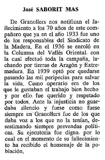 """Necrològica de Josep Saborit Mas apareguda en el periòdic tolosà """"Cenit"""" del 27 de juny de 1989"""