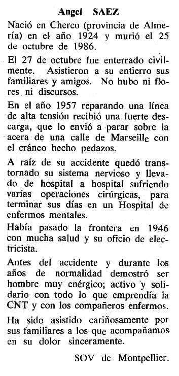 "Necrològica d'Ángel Sáez apareguda en el periòdic tolosà ""Cenit"" del 9 de desembre de 1986"