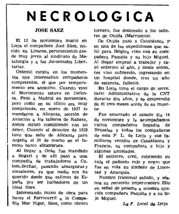 """Necrològica de José Sáez apareguda en el periòdic parisenc """"Le Combat Syndicaliste"""" del 14 de gener de 1971"""