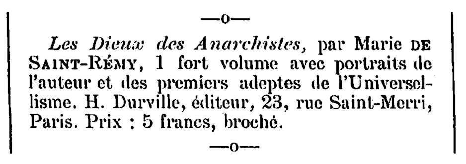 """Notícia bibliogràfica de Marie de Saint Rémy apareguda en el periòdic d'Asnières """"L'Écho des Jeunes"""" de l'1 de maig de 1899"""