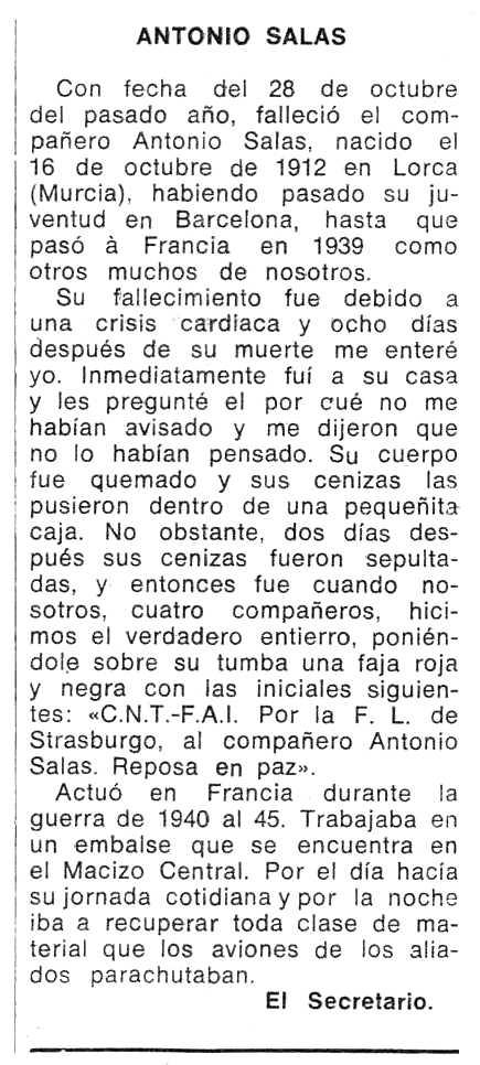 """Necrológica de Antonio Salas aparecida en el periódico tolosano """"Espoir"""" del 2 de marzo de 1975"""