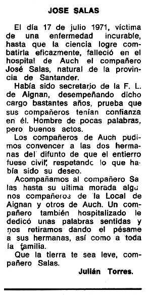 """Necrològica de José Salas publicada en el periòdic tolosà """"Espoir"""" del 23 de gener de 1972"""