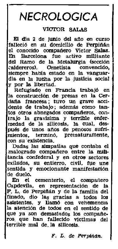 """Necrològica de Víctor Salas apareguda en el periòdic parisenc """"Le Combat Syndicaliste"""" del 17 d'octubre de 1963"""
