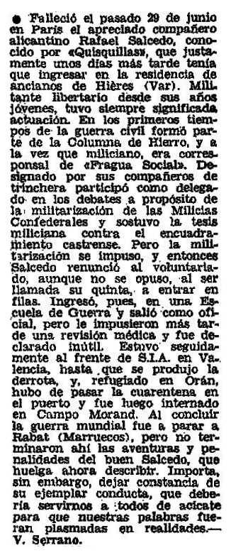 """Necrològica de Rafael Salcedo apareguda en el periòdic parisenc """"Frente Libertario"""" de setembre de 1976"""