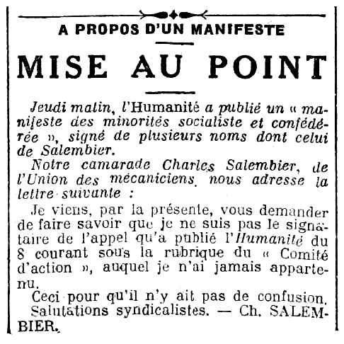 """Refutació de Charles Salembier sobre un manifest apareguda en el diari parisenc """"Le Peuple"""" del 10 d'octubre de 1925"""