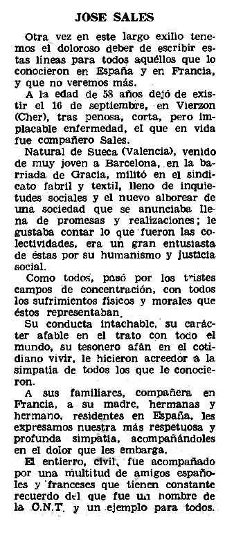 """Necrològica de Josep Sales Parell apareguda en el periòdic parisenc """"Le Combat Syndicaliste"""" del 5 de desembre de 1968"""