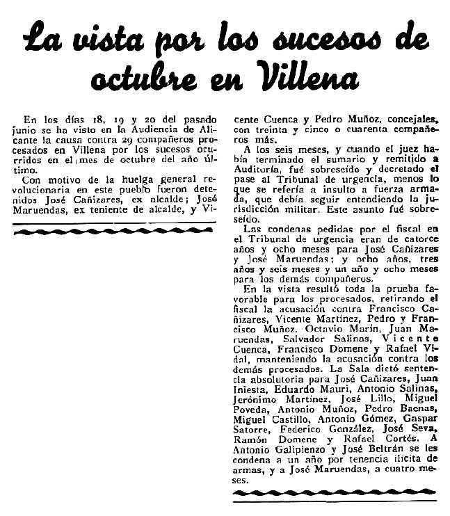 """Notícia del judici a Salvador Salinas Atienzar i altres companys apareguda en el periòdic madrileny """"Democracia"""" del 6 de juliol de 1935"""