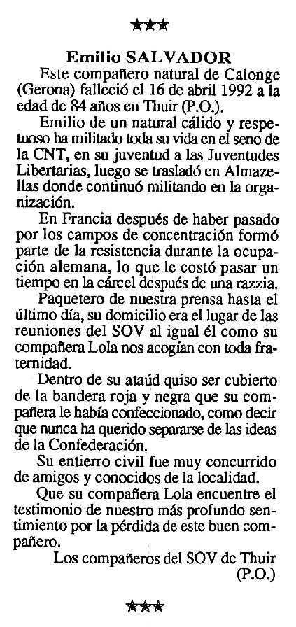 """Necrològica d'Emili Salvador apareguda en el periòdic tolosà """"Cenit"""" del 13 d'octubre de 1992"""