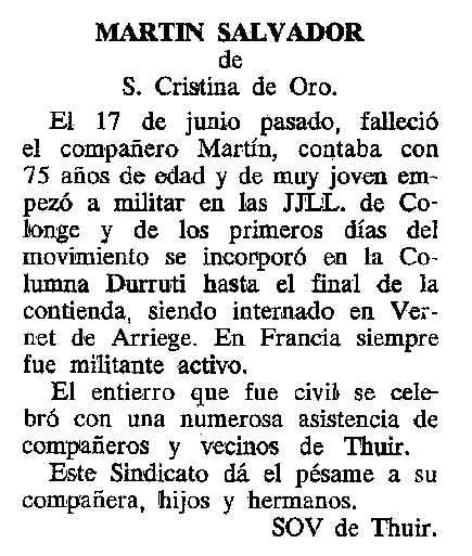 """Necrològica de Martí Salvador Massa apareguda en el periòdic tolosà """"Cenit"""" del 12 d'abril de 1988"""