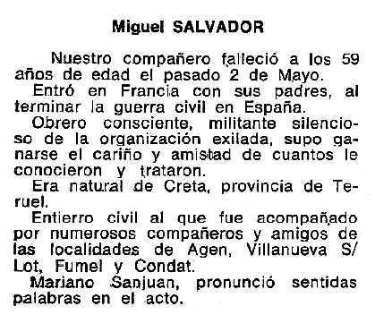 """Necrològica de Miguel Salvador apareguda en el periòdic tolosà """"Cenit"""" de l'11 de juny de 1985"""