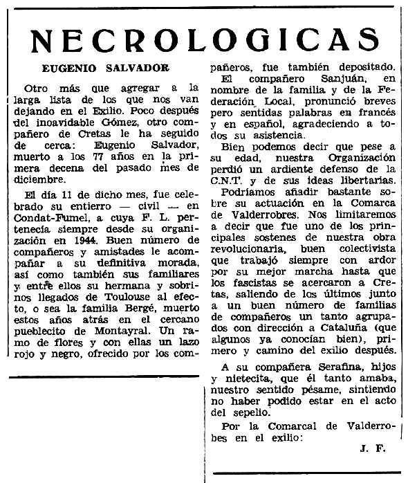 """Necrològica d'Eugenio Salvador Mollá apareguda en el periòdic tolosà """"Espoir"""" de l'11 d'abril de 1971"""