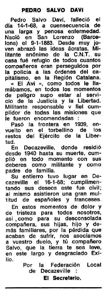 """Necrològica de Pere Salvó Daví apareguda en el periòdic tolosà """"Espoir"""" del 17 de març de 1968"""