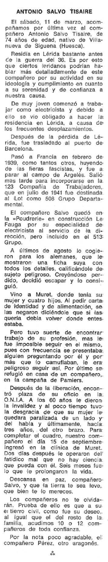 """Necrològica d'Antonio Salvo Tisaire apareguda en el periòdic tolosà """"Espoir"""" del 24 de juliol de 1978"""