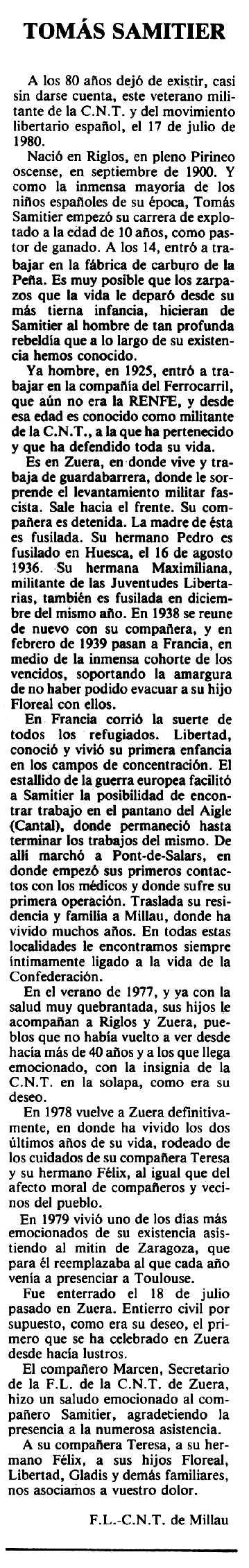 """Necrològica de Tomás Samitier Uruen apareguda en el periòdic tolosà """"Espoir"""" del 18 de gener de 1981"""