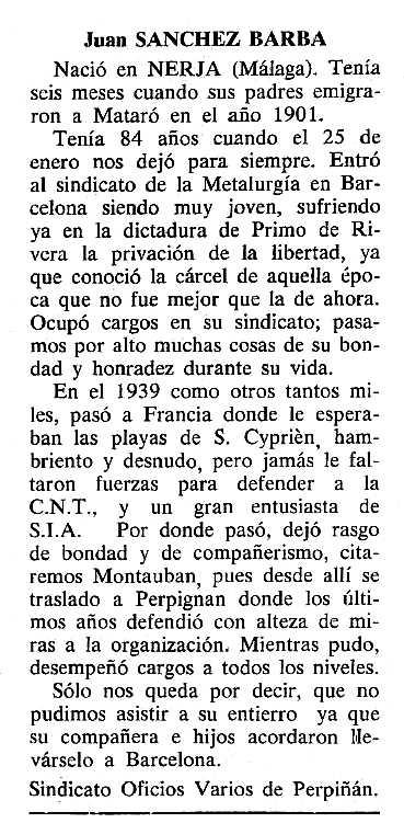 """Necrològicva de Juan Sánchez Barba apareguda en el periòdic tolosà """"Cenit"""" del 12 de març de 1985"""