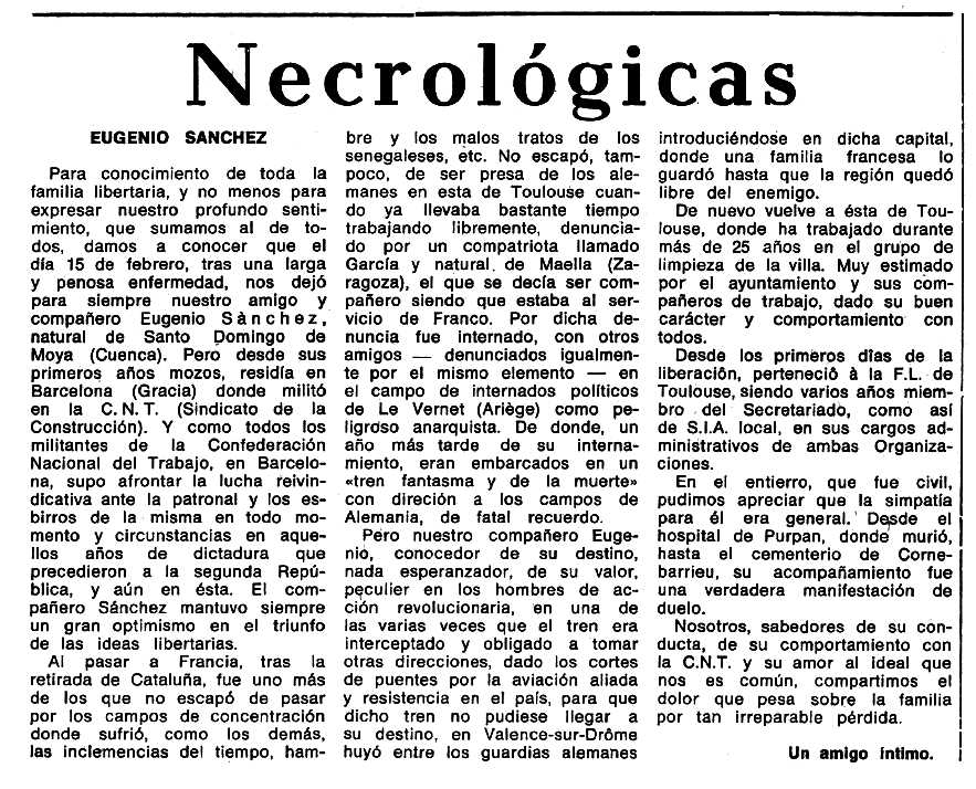 "Necrològica d'Eugenio Sánchez García publicada en el periòdic tolosà ""Espoir"" de l'1 d'octubre de 1972"