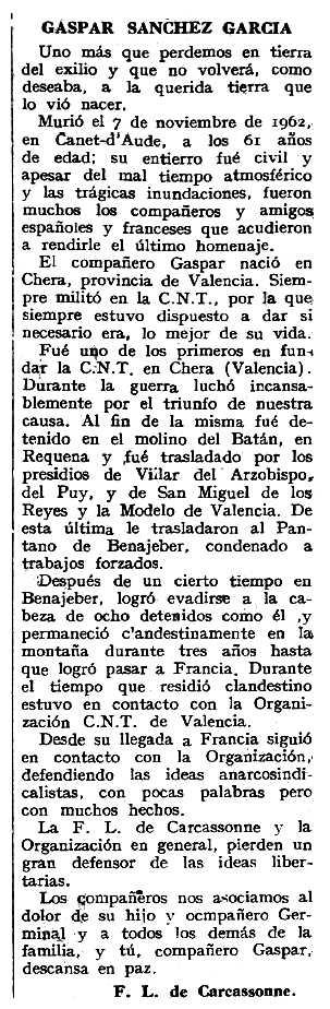 """Necrològica de Gaspar Sánchez García apareguda en el periòdic tolosà """"Espoir"""" del 20 de gener de 1963"""