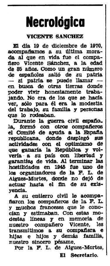 """Necrològica de Vicente Sánchez García apareguda en el periòdic tolosà """"Espoir"""" del 7 de març de 1971"""