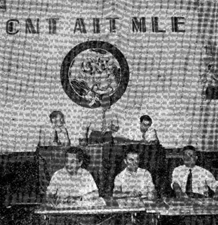 Presidència del IV Ple Nacional Extraordinari de la CNT (Tolosa, juny de 1952). D'esquerra a dreta, en primer pla: Bernardo Merino, Ramón Liarte, Helios Sánchez. Al fons: Felipe Seseña, Miguel Vallejo i Josep Juan Domènech