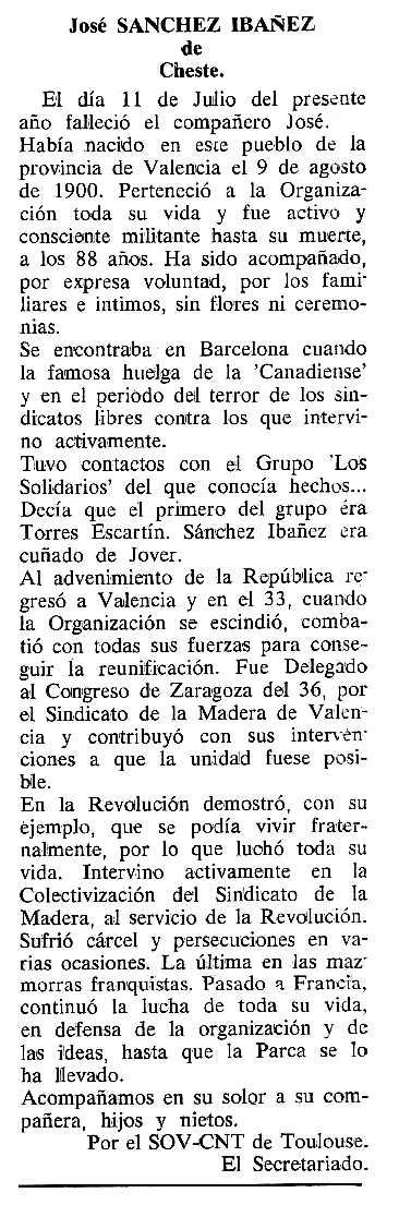 """Necrològica de José Sánchez Ibáñez apareguda en el periòdic tolosà """"Cenit"""" de l'11 d'octubre de 1988"""