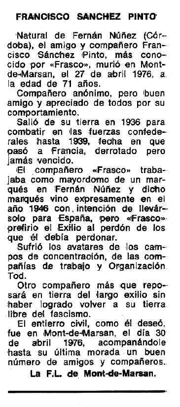 """Necrològia de Francisco Sánchez Pinto apareguda en el periòdic tolosà """"Espoir"""" del 27 de juny de 1976"""