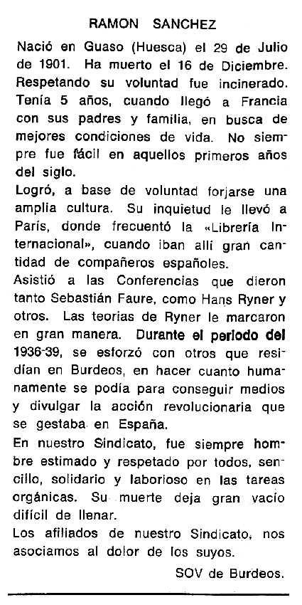 """Necrològica de Ramón Sánchez Solano apareguda en el periòdic tolosà """"Cenit"""" del 24 de febrer de 1987"""