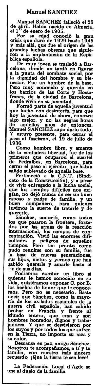 """Necrològica de Manuel Sánchez Reguera apareguda en el periòdic tolosà """"Espoir"""" del 18 de maig de 1980"""