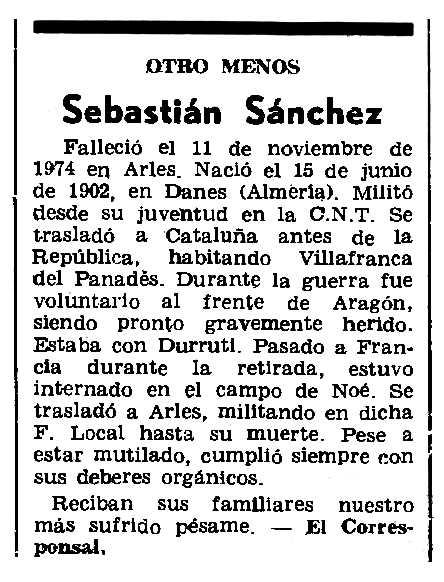 """Necrològica de Sebastián Sánchez Martínez apareguda en el periòdic parisenc """"Le Combat Syndicaliste"""" del 25 de setembre de 1975"""