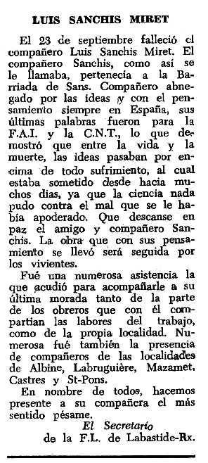 "Necrològica de Lluís Sanchís Miret apareguda en el periòdic tolosà ""Espoir"" del 27 de novembre de 1966"