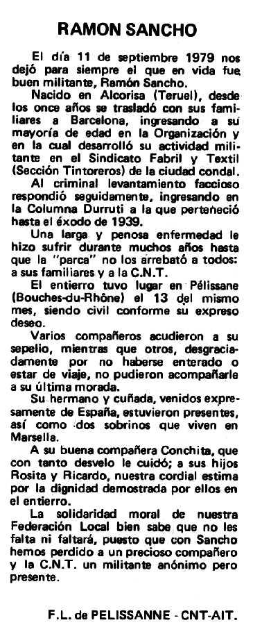 """Necrològica de Ramón Sancho Aznar apareguda en el periòdic tolosà """"Espoir"""" del 25 de maig de 1980"""