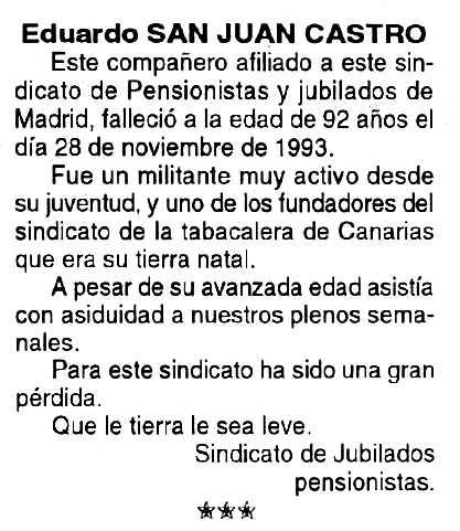 """Necrològica d'Eduardo Sanjuán Castro apareguda en el periòdic tolosà """"Cenit"""" del 15 de gener de 1994"""