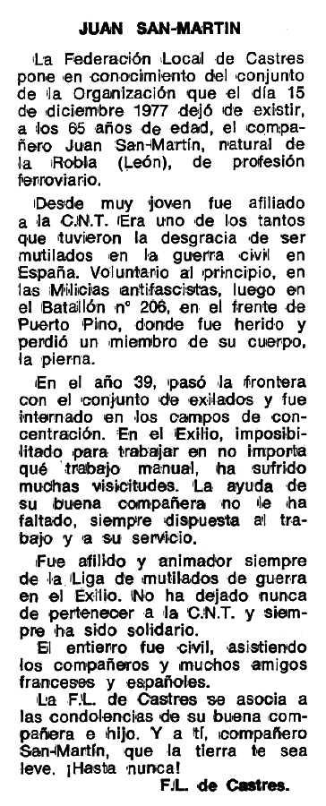 """Necrològica de Juan San Martín apareguda en el periòdic tolosà """"Espoir"""" del 12 de juny de 1978"""
