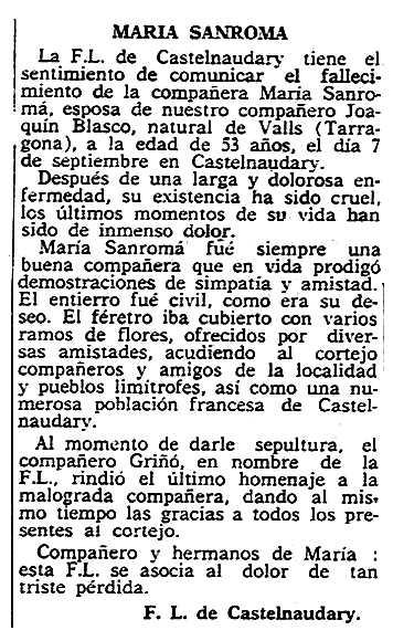 """Necrològica de Maria Sanromà Mateu apareguda en el periòdic parisenc """"Solidaridad Obrera"""" del 25 de setembre de 1957"""